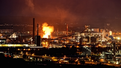 Steel plant at night